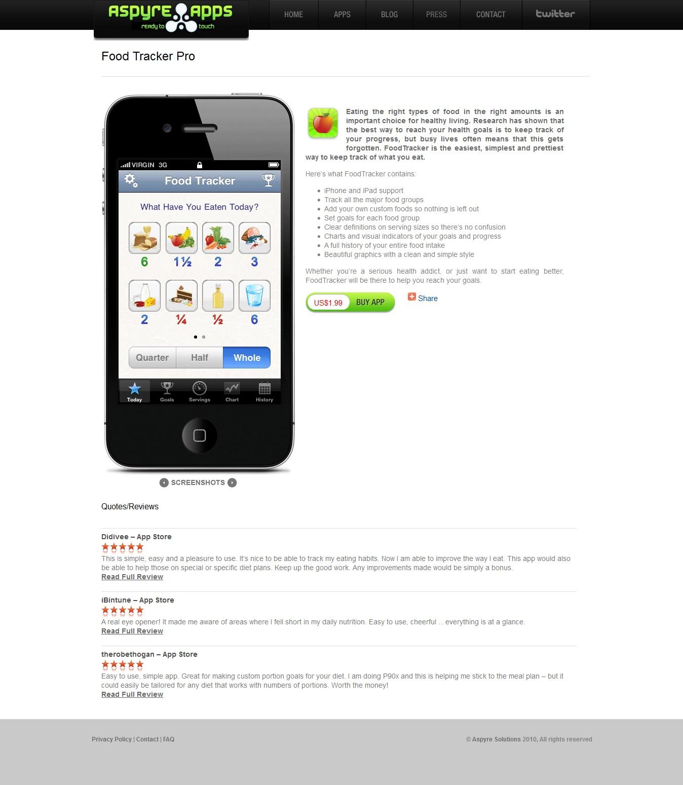 aspyre apps product page design