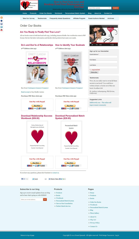 relationshipadviceforsuccess.com website redesign